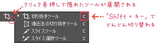 図解:選択したツールの切り替え表示