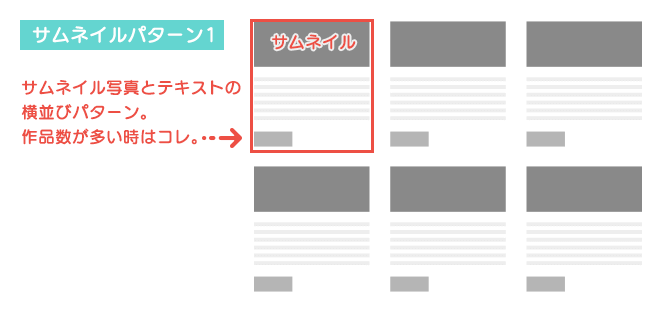 図解:ポートフォリオサイトのレイアウト一覧パターン1